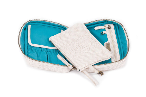 Genoa Avion Cosmetic Case - Ivory/Teal
