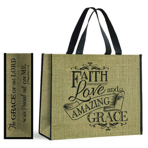 Giant tote - Burlap Amazing Grace