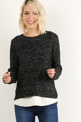 Layered crew neck knit sweater