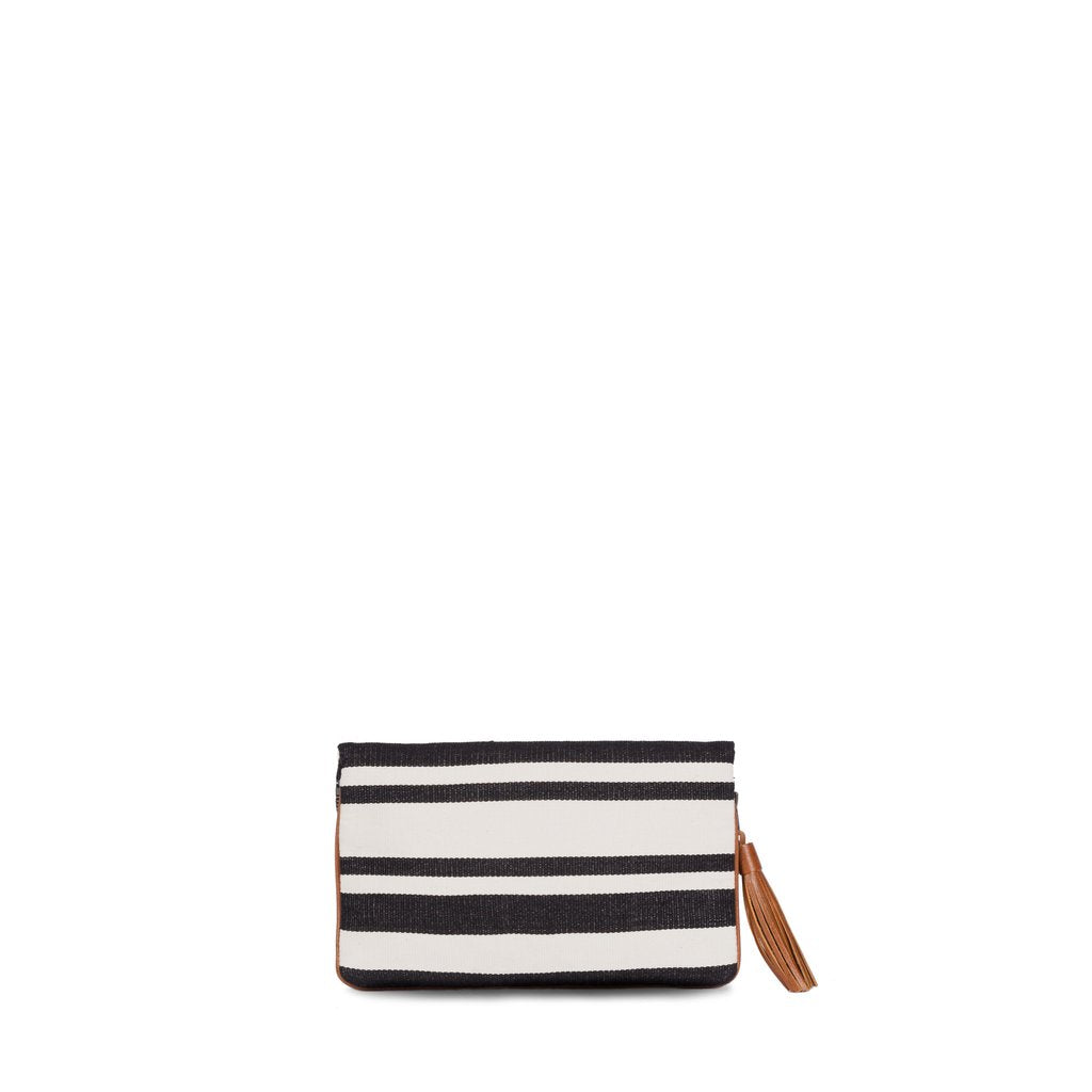 Mercado Hand-Woven with leather detail Clutch - Black Ivory Stripe