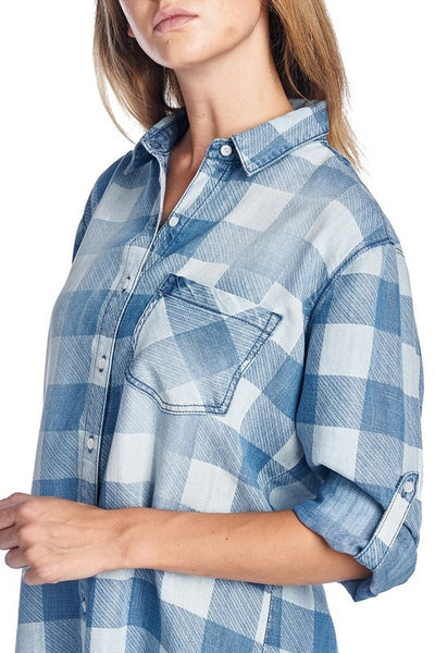 Checkered Denim Shirt Dress