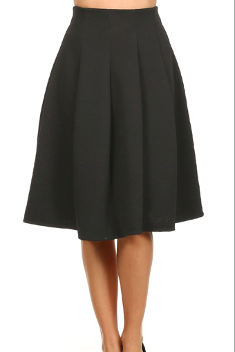 TEXTURED KNEE-LENGTH TEA SKIRTS
