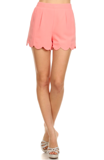 Scallop High Waist Shorts - Peach