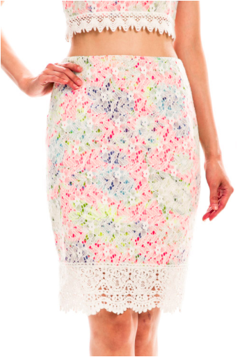 Floral Lace Crochet Trim Pencil Skirt