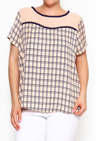 Plus Size Lace Detailed Plaid Print Short Sleeve Top - Peach/Navy