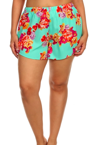 Plus Size Loose Fit Floral Shorts - Mint