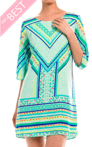 Half Sleeve Geometric Print Tunic Dress - Mint