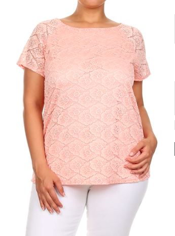Plus Size Short Sleeve Floral Lace Top  Peach