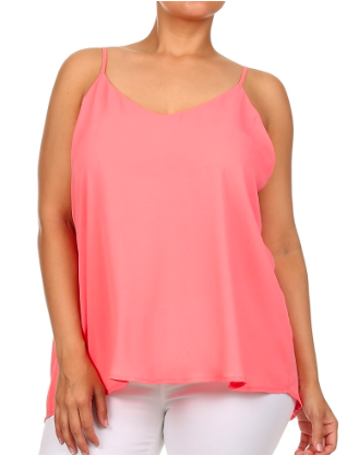 Plus Size Loose fit Tank - Salmon