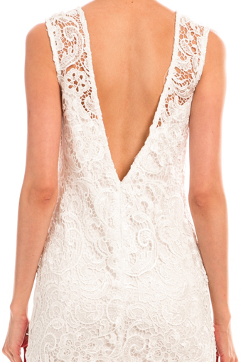 Crochet Detail Open Back Dress - Taupe