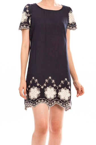 Floral Embroidered Scallop Detail Dress