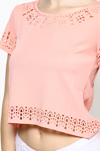 Laser Cut-out Detail Top - Peach
