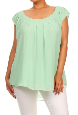 Plus Size Loose Fit Pleat Detail Hi-Lo Top