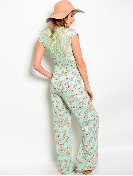Floral Print Full Length Romper - Mint