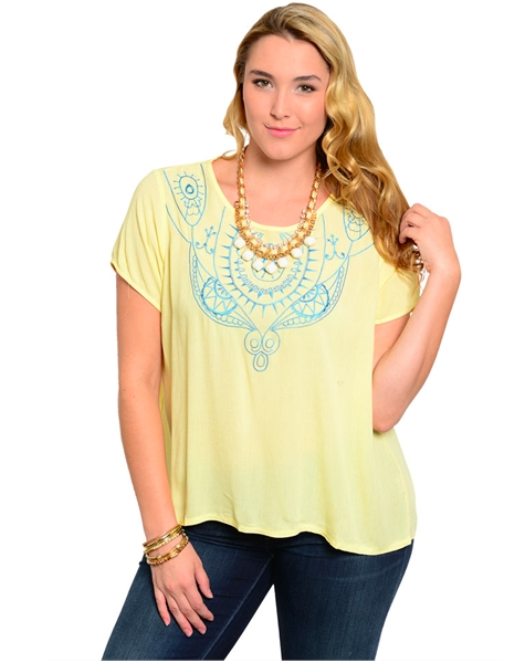 YELLOW TOP WITH BLUE CROCHET DETAIL -PLUS