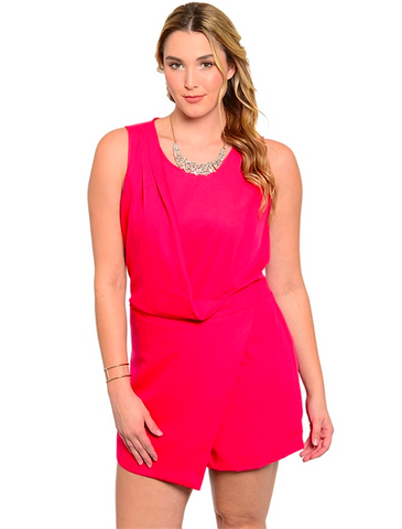 Plus Size Sleeveless Romper - Red
