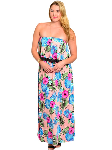 Plus Size Black Lace Detailed Hawaii Floral Maxi