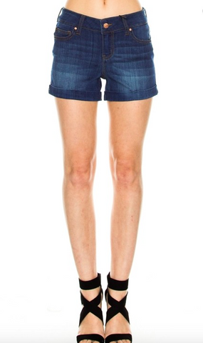 Folded Hem Detail Dark Denim Shorts