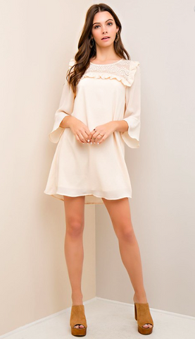 Solid A-Line Dress with Ruffle and Lace Detail - Natural