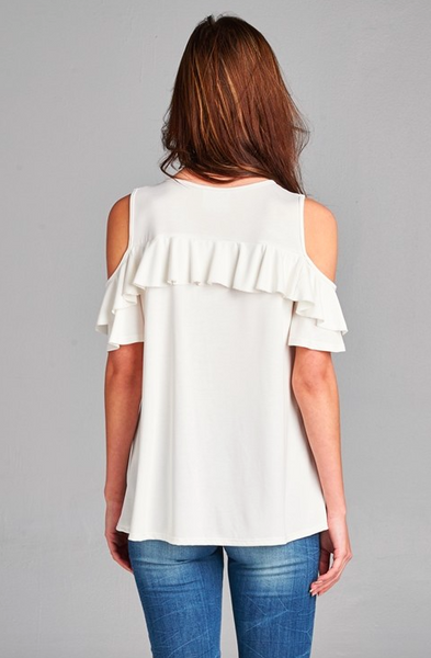 Washed modal cupro cold shoulder ruffle top