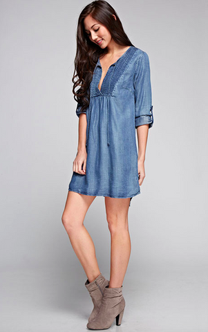 Three Quarter Sleeve Tencel Shift Dress