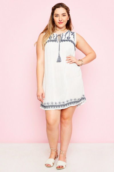 Blue Embroidered Tunic Dress in White - Plus