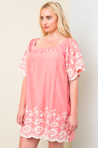 Floral Embroidered Tunic Dress - Plus
