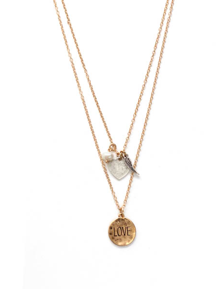 Inspire with Words Double Layer gold necklace: Love