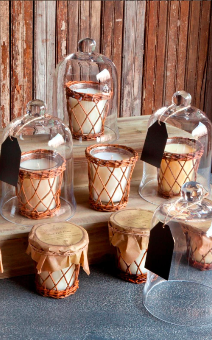 Willow wrapped glass candles
