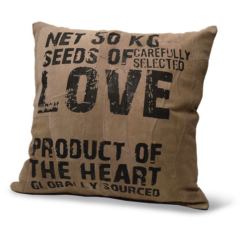 Leather Cushion - Love Seeds, Color Gray