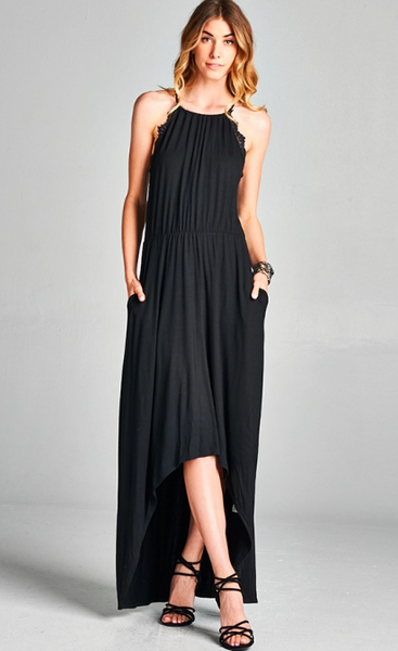 Lace Lined High Low Maxi Dress in Black