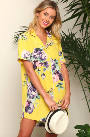 Floral Print Pajama Style Button down dress
