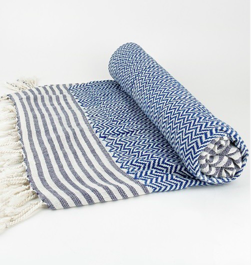 Luxury Block Print Double Sided Towel with Fringe Detail - Southern Blue
