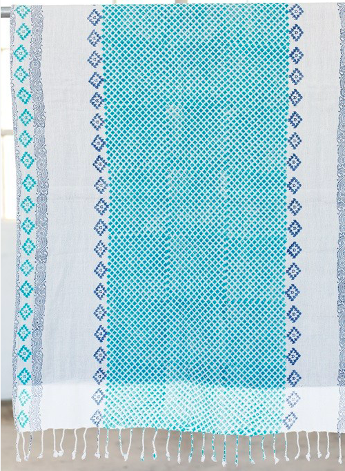 Luxury Block Print Double Sided Towel with Fringe Detail - Beach Blue