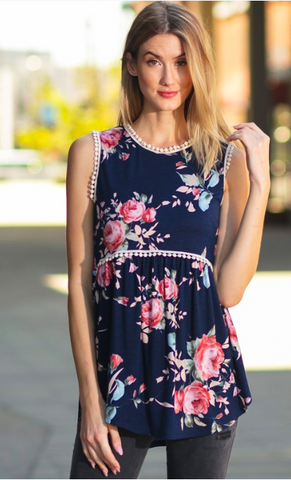 Floral Print Sleeveless top with bottom ruffles and crochet detail - Navy