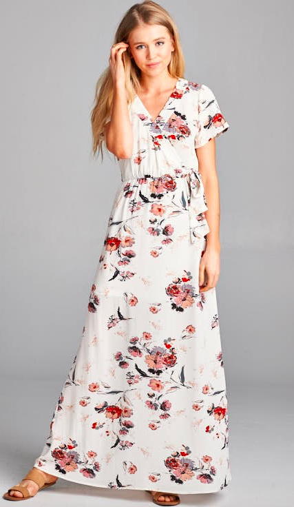Surplus Tie Waist Cap Sleeve Floral Maxi Dress