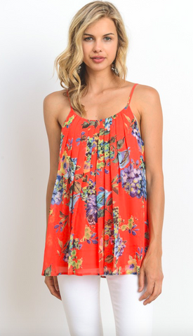 Pleated Floral Adjustable Tank - Peach Multi