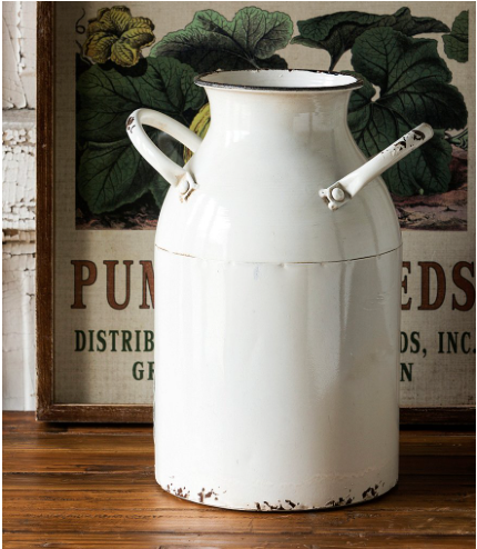 Park Hill Decorative Painted Cream Can