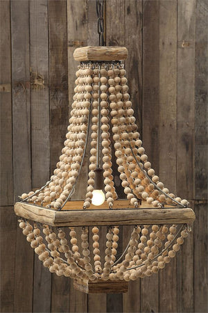 Metal Chandelier w/ Wood Beads
