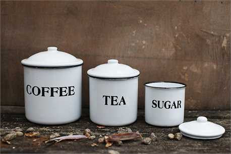 Enameled Metal Coffee, Tea & Sugar Containers with lids set