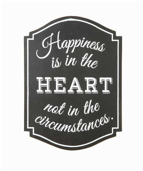 """Happiness is in the heart"" Chalk Board wall decor"