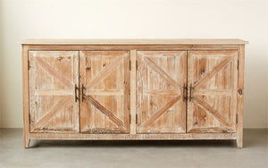 Wood & MDF Cabinet w/ 4 Doors, Distressed Fin