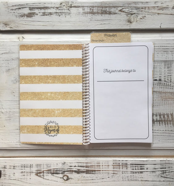 All-in-One, Devotional Study Prayer Journal, Memory Verse, Removable Bookmark, 8x5 spiral bound, 80 page planner, Sticky Notes Included