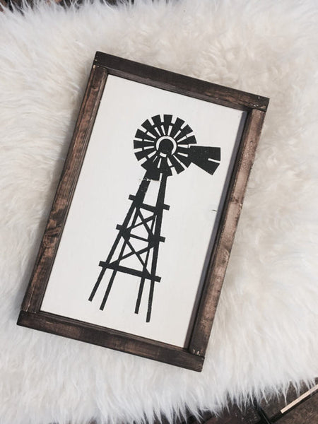 Windmill Wood Framed Farmhouse Style Sign