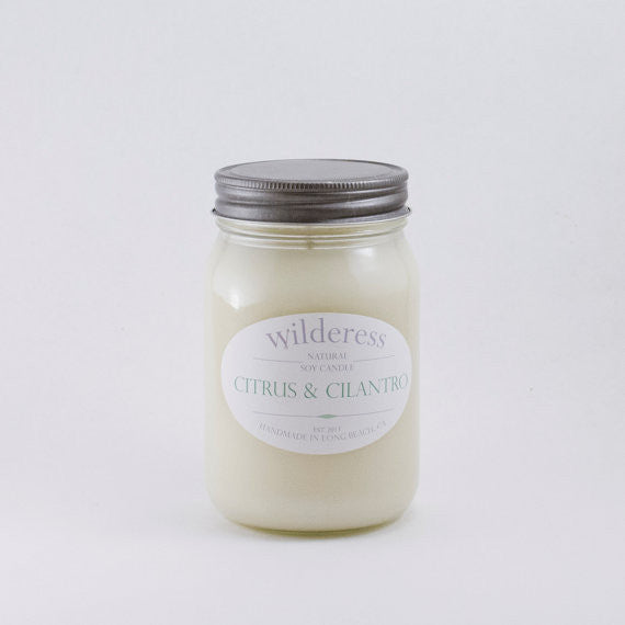 Citrus & Cilantro 90 Hour Natural Soy Candle by Wilderess