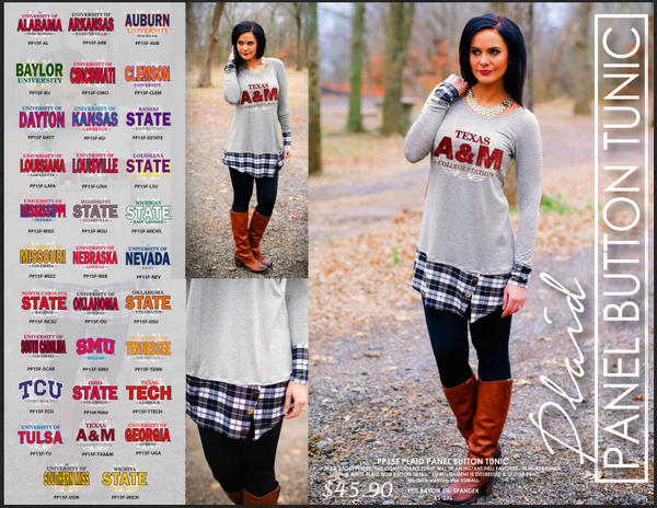 Game Day Plaid Panel Button Tunic