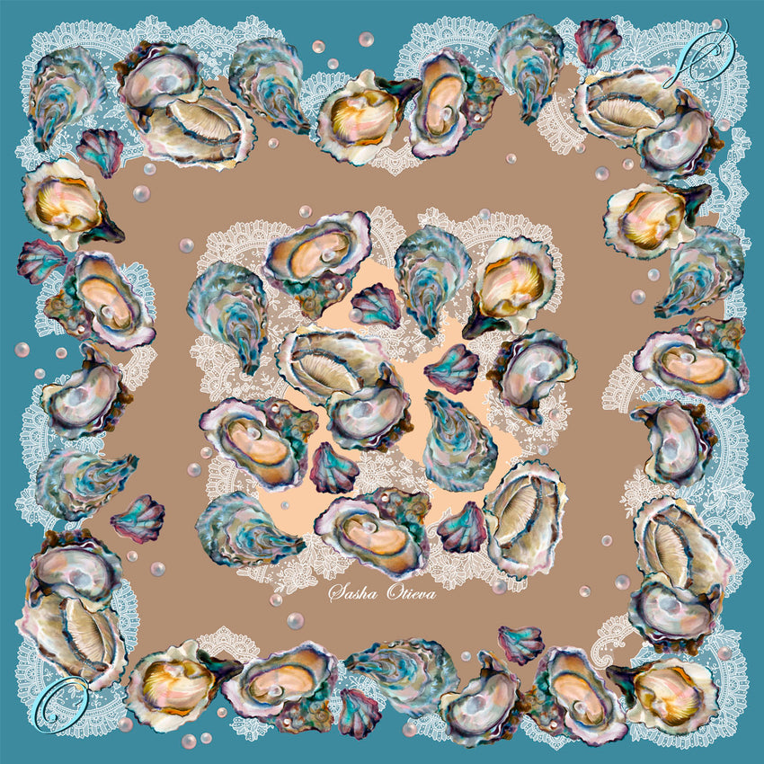 "Silk scarf ""Gift of Goddess"" 90x90 cm. scarf-09-90"