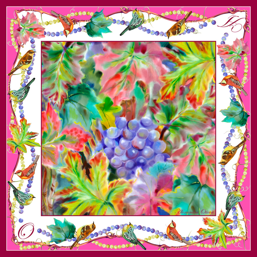 "Silk scarf ""Vineyards in September 90x90 cm"". scarf-07-90"