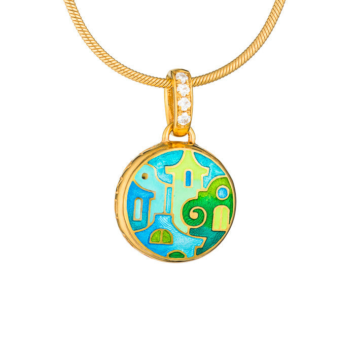 "Silver mini-pendant ""Mostar Houses"" with 18K gold plating. Special edition. pdm2006 - Namfleg Enamel Jewelry"