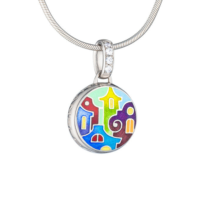 "Silver mini-pendant ""Bay of Palermo"". pdm1003 - Namfleg Enamel Jewelry"